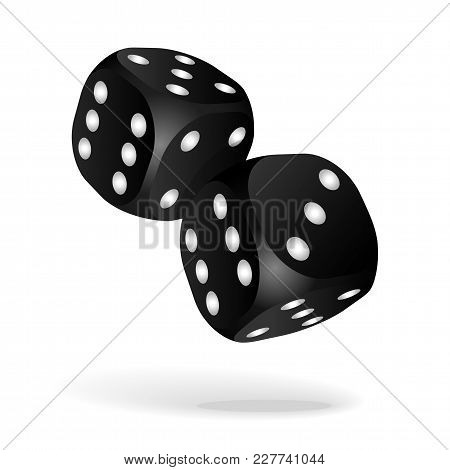 Black Dice With White Pips. Two Black Falling Dice Isolated On White. Casino Gambling Template Conce