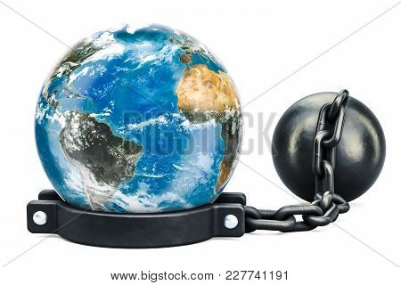 Earth Globe With Prison Shackle, 3d Rendering Isolated On White Background