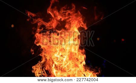 Fire with colorful flames. Big blaze on black background. Close up view with details, banner, space for text.