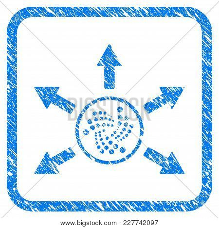 Iota Spend Arrows Rubber Seal Stamp Imitation. Icon Vector Symbol With Grunge Design And Dust Textur