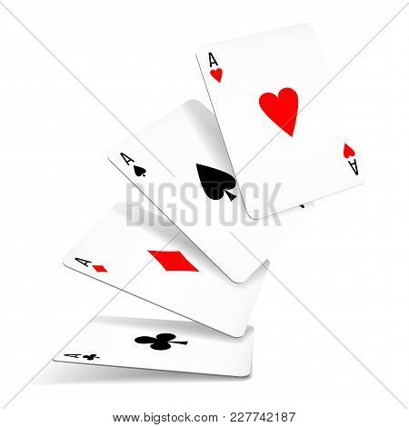 Four Aces Of Diamonds, Clubs, Spades And Hearts Fall Or Fly On White Background. Set Of Four Aces De
