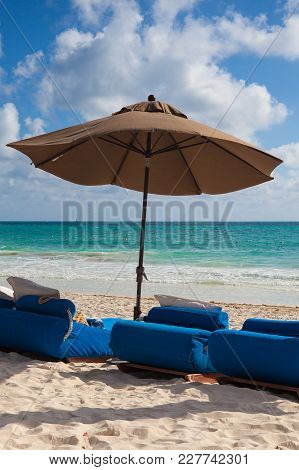 Luxury Blue Beach Chairs On The Empty Beach,yucatan,mexico
