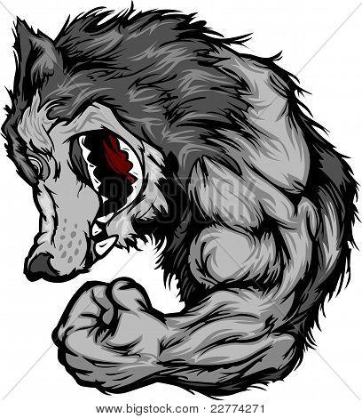 Lobo mascota doblar brazo Cartoon