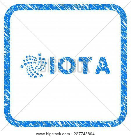 Iota Ticker Rubber Seal Stamp Imitation. Icon Vector Symbol With Grunge Design And Unclean Texture I