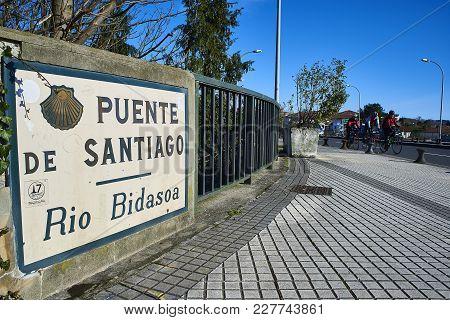 Puente De Santiago Over The Bidasoa River On Spain And France Border.