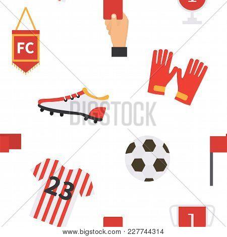 Soccer Football Seamless Pattern. Vector Sport Background
