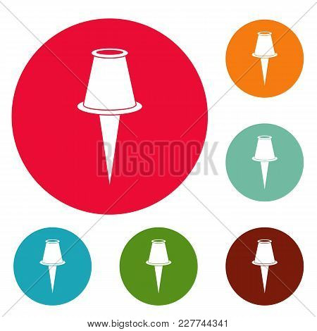 Drawing Pin Icons Circle Set Vector Isolated On White Background