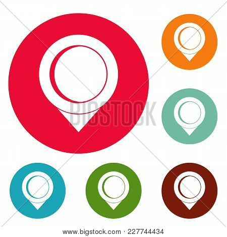 Reminder Pin Icons Circle Set Vector Isolated On White Background