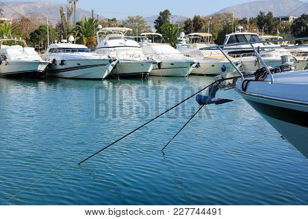 Summer Time Beautiful Yachts Moored In Glyfada Port, Athens, Greece. Horizontal.