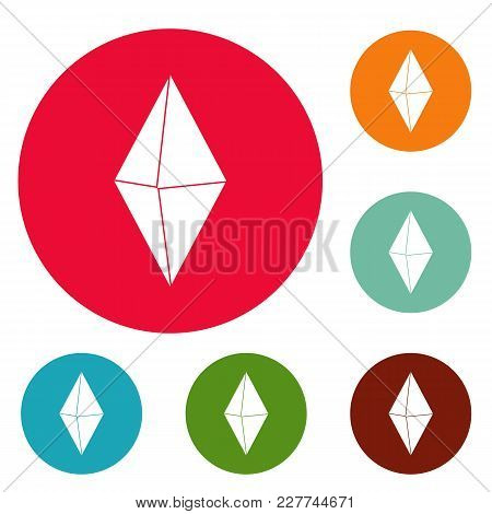 Arrow Pin Icons Circle Set Vector Isolated On White Background