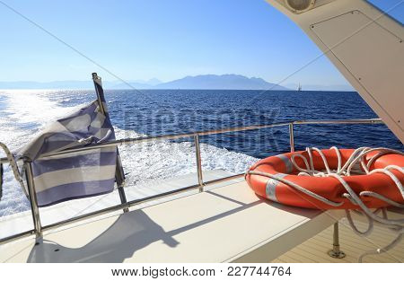 Summer Vacation By The Yacht Somewhere In The Aegean Sea, Greece. Horizontal.