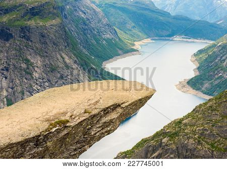 The Rock Formation Trolltunga Troll Tongue, Odda, Norway