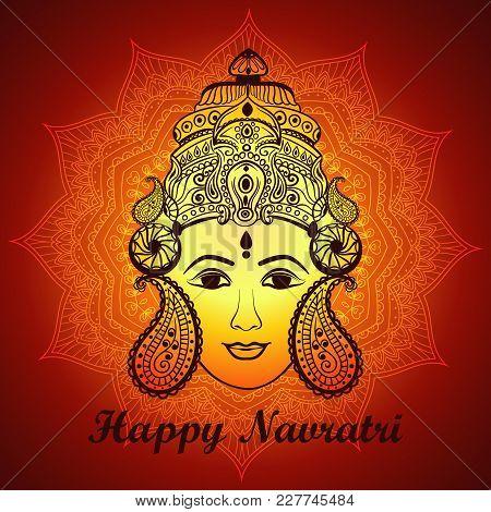 Creative Mandala Frame Based On Line Art With Beautiful Face Of Maa Durga On Decorative Background F