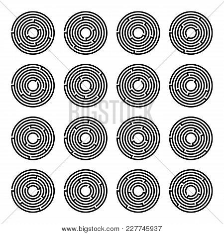 Maze Game With Entry And Exit. Vector Illustration Eps 10. Sixteen Circular Mazes For Kids On A Whit