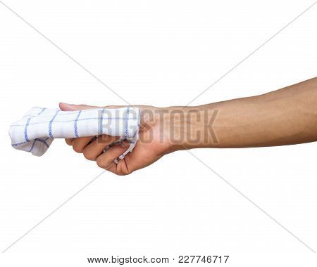 Man Hand Holding Handkerchief Or Table Wipes Isolated On White Background With Clipping Path.
