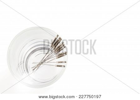 Silver Needles For Traditional Chinese Medicine Acupuncture. Isolated On White Background. Close-up.