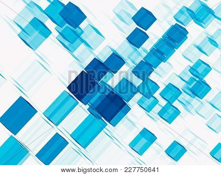 Blue And White Background With Chaos Cubes. Abstract Computer-generated Image - 3d Illustration. For