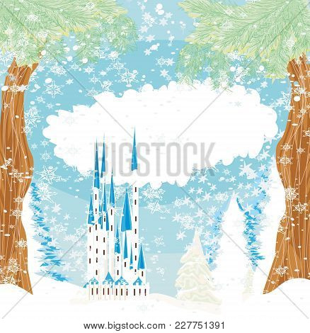 Winter Landscape With Castle And Snow , Vector Illustration