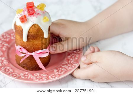 Easter Bread Kulich Paska On Plate In Kid Hands