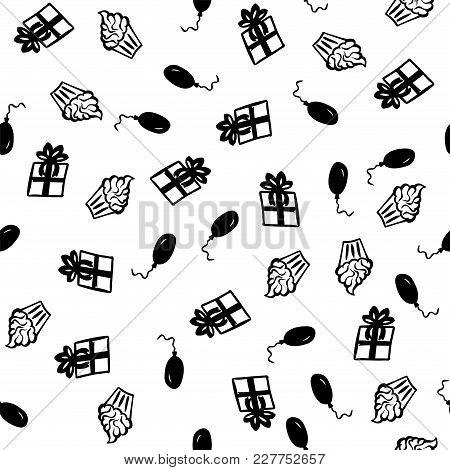 Happy Birthday Greeting Seamless Pattern Vector Illustration