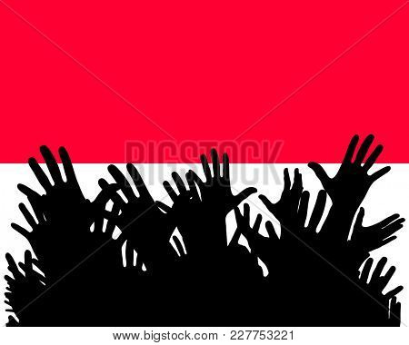 Hands up silhouettes on a Monaco flag. Crowd of fans, cheerful people at a party. Banner, card, poster.