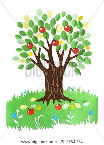 applique from cutout paper - tree with apples