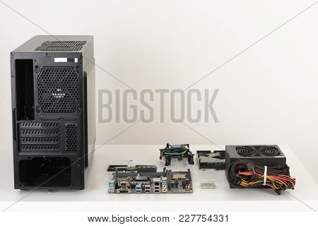 New Components, Hardware For Building Desktop Pc. Pc Case, Motherboard, Processor, Power Supply, Mem