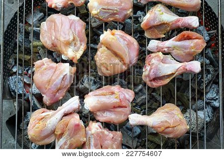 Chicken Meat On A Grill. Garden Party.