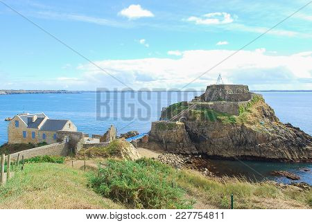 Seascape In France With Home Nearly Old Castle In Small Island Connect With Blue Bridge With Backgro