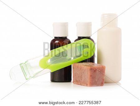 Travel Cosmetics Toothbrush Soap Shower Gel Shampoo On White Background Isolation