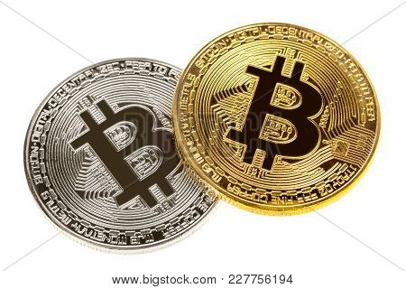 Silver And Gold Bitcoin Coins Isolated On White. Close Up Image. Electronic Cryptography Currency Mo