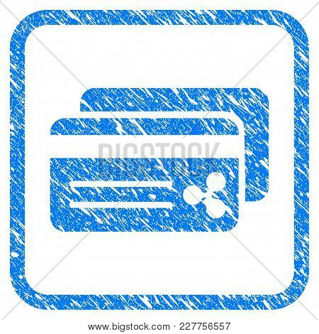 Ripple Bank Cards Rubber Seal Stamp Imitation. Icon Vector Symbol With Grunge Design And Corrosion T