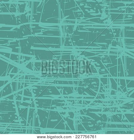 Abstract Green Seamless Background. Grunge Seamless Pattern. Abstract Vector Layer For Creating Grun