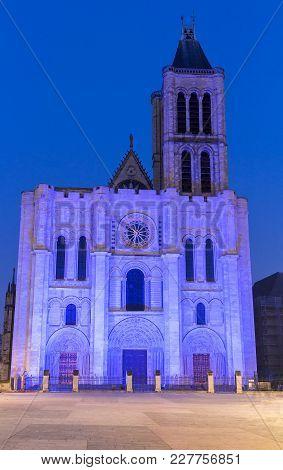 Exterior Facade Of The Basilica Of Saint Denis In The Evening , Saint-denis, Paris, France.
