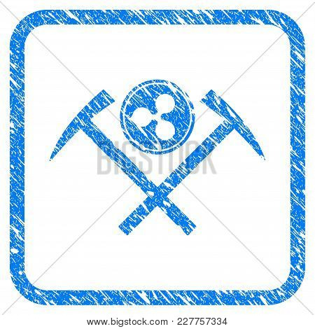 Ripple Coin Mining Hammers Rubber Seal Stamp Imitation. Icon Vector Symbol With Grunge Design And Co