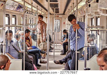 Tehran, Iran - April 29, 2017: Iranian Man Leans On The Rail In The Underground.