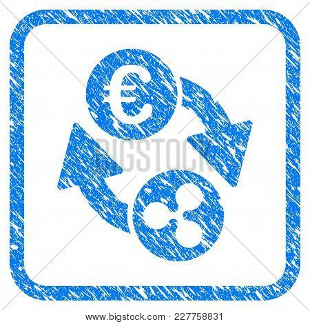Ripple Euro Exchange Rubber Seal Stamp Watermark. Icon Vector Symbol With Grunge Design And Corrosio