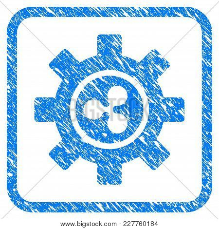 Ripple Development Gear Rubber Seal Stamp Watermark. Icon Vector Symbol With Grunge Design And Dust