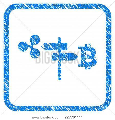 Ripple And Bitcoin Road Pointer Rubber Seal Stamp Watermark. Icon Vector Symbol With Grunge Design A
