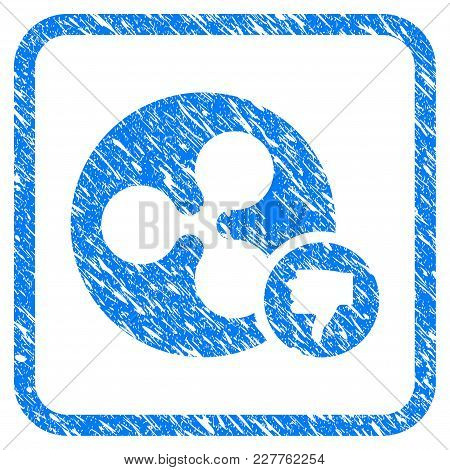 Ripple Coin Thumb Down Rubber Seal Stamp Imitation. Icon Vector Symbol With Grunge Design And Dirty