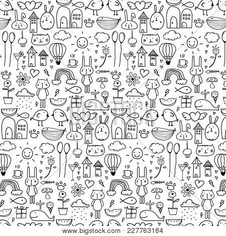 Pattern With Line Hand Drawn Doodle Lovely Background For Kid. Doodle Funny. Handmade Vector Illustr