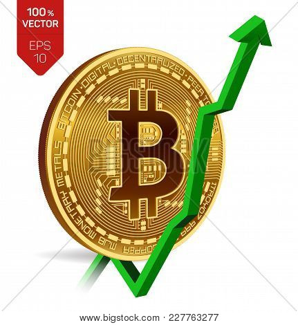 Bitcoin. Growth. Green Arrow Up. Bitcoin Index Rating Go Up On Exchange Market. Crypto Currency. 3d