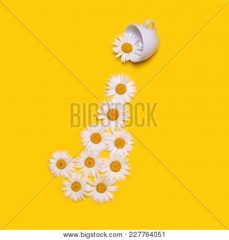 Creative Original Concept With A White Cup And Flowers On A Yellow Background. Large Chamomiles Pour