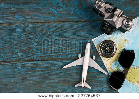 Travel Accessories And Items, Passport Travel Documents Photo Camera Sunglasses Airplane Mobile Phon