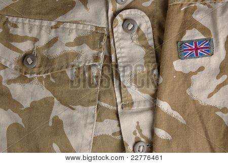 British army desert uniform with a flag