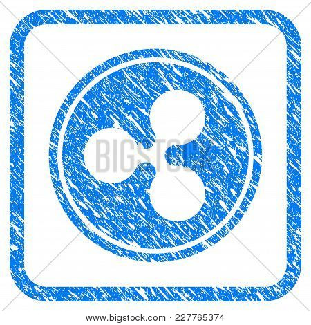 Ripple Coin Rubber Seal Stamp Imitation. Icon Vector Symbol With Grunge Design And Unclean Texture I