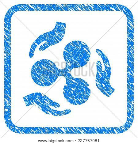 Ripple Care Hands Rubber Seal Stamp Imitation. Icon Vector Symbol With Grunge Design And Unclean Tex