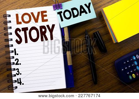 Word, Writing Love Story. Business Concept For Loving Someone Heart  Written On Book Note Paper On W