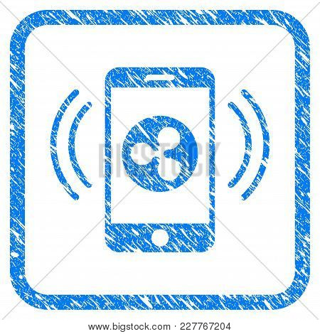 Ripple Mobile Control Rubber Seal Stamp Imitation. Icon Vector Symbol With Grunge Design And Unclean