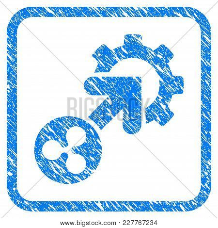 Ripple Integration Cog Rubber Seal Stamp Imitation. Icon Vector Symbol With Grunge Design And Corros